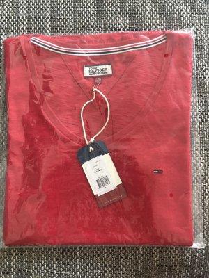 Original Tommy Hilfiger Damen T-Shirt Top in Rot Neu