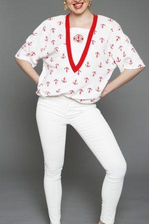 Original True Vintage Hemd Bluse Shirt Anker rot weiß Rockabilly S M L 80er 90er Oversize