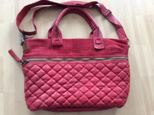 Crossbody bag red-brick red leather