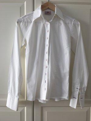 Original Umani Bluse, Weiß mit violetten Kontrasten, Größe 34