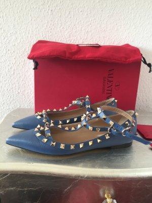 Original VALENTINO Garavani ROCKSTUD Pumps Ballerinas blau 37 NEU 690€
