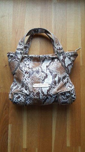 Original Valentino Handtasche in weissbraunem Schlangenmuster