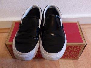 Original Vans Slipper - schwarzer Lack und weiß abgesetzt