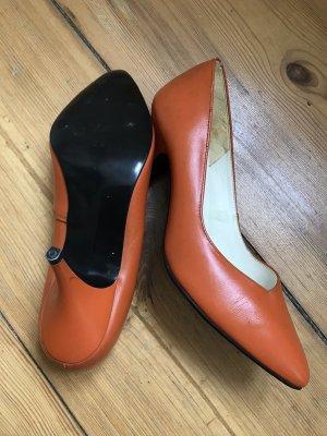 Original Vintage, 80er,  High Heels, Leder, Orange, Gr 5.5, TOP ZUSTAND