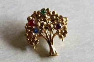 Original Vintage Brosche Baum gold Steine 60er 70er 80er 90er