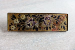 Original Vintage Brosche gold schwarz lila handbemalt 30er 40er 50er 60er 70er