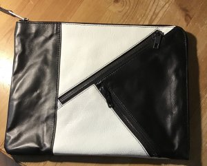 Karl Lagerfeld Pochette blanc-noir cuir