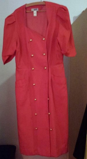 Robe manteau rouge fluo