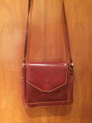 Original Vintage Leder Handtasche von JOOP! in Bordeaux-Rot