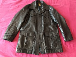 Vintage Biker Jacket black leather