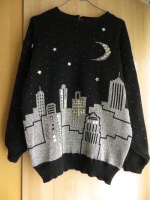 Original Vintage Pullover mit Skyline Motiv, Sternen und Pailletten