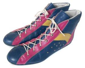 Original Vintage Schnürschuhe Leder Schnürer Sneaker lace ups 80er 80s Made in Italy Gr. 39 40 Hipster