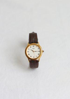 Original Vintage Seiko Uhr Braun Lederarmband 60er 70er Mod Gold