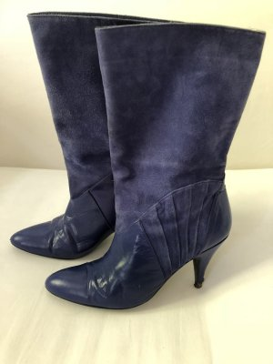 Original Vintage Stiefel, 80er Jahre, blau Leder, Gr 39