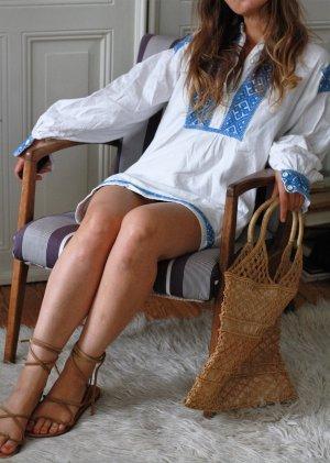 Original Vintage Tunika Tunika Kleid Strandkleid Blau Weiß Stickerei Hippie Folklore Ethno Boho Blogger Festival Surf