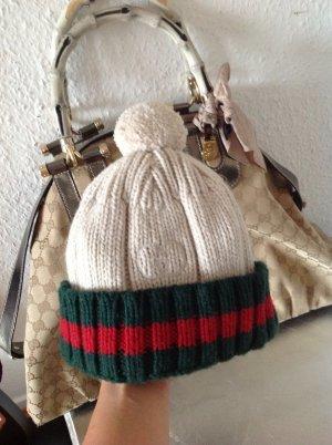 Original warme GUCCI Winter Mütze Mit Bommel Cashmere Beanie Neu Pudelmütze Gr.S