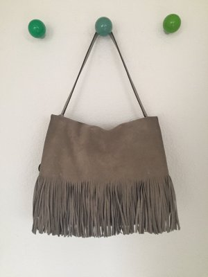 Windsor Fringed Bag grey brown-neon yellow leather