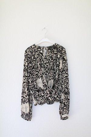 Original Winter Kate Bluse aus 100% Seide Blumen Schwarz Weiß Vintage Look Gr. M