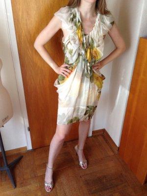 Original Wunderkind (Wolfgang Joop) Seiden cocktail Kleid Blumen weiß/gelb