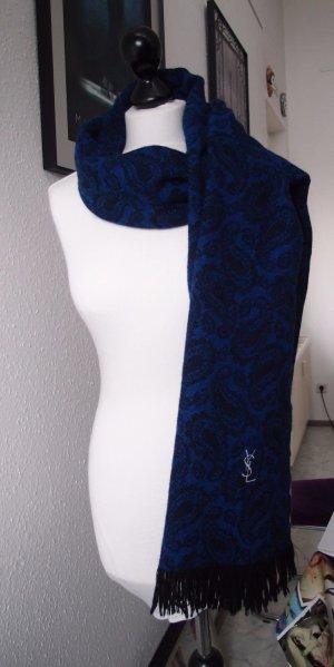 Original Yves Saint Laurent Schal 80 % Wolle 20 % Cashmere Luxus Blau