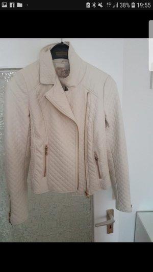 Zara Chaqueta de cuero blanco-blanco puro