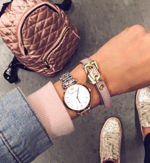 Emporio Armani Orologio con cinturino di metallo argento-color oro rosa