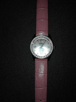 Originale s.Oliver Armbanduhr aus Edelstahl echt Leder Armband .