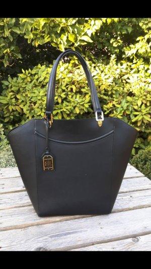 Originale schwarze Leder Ralph Lauren Tasche