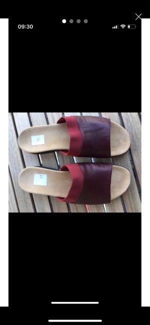 Pantofola da casa rosso scuro Pelle