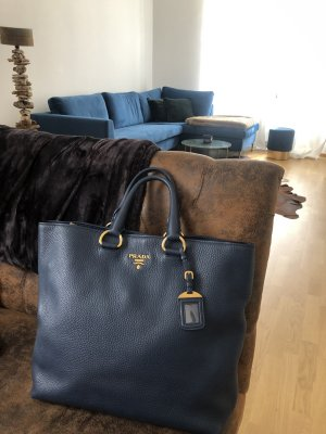 Originaler Prada Vitello Daino Shopper in Dunkelblau