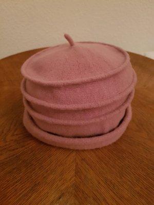 Wollen hoed stoffig roze