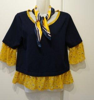 Orsay Bluse navy x curry Shirt Gr. 38 + Halstuch Set French Chic Mori Kei