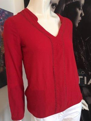 Orsay Bluse rot v-Ausschnitt viele edle Details Small viskose