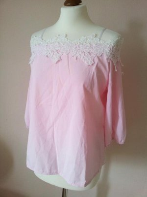 Orsay Blusentop in 40, Off / Cold Shoulder / schulterfrei, Rosa / Nude mit Spitze