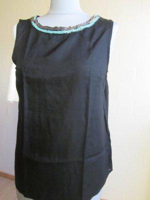 ORSAY: Blusentop schwarz, bestickter Ausschnitt, Gr. 36