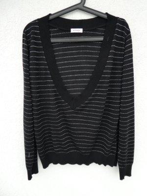 Orsay – Damen Feinstrickpullover, schwarz mit dünnen silbernen Streifen - Gebraucht, fast wie neu