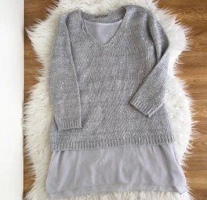 Orsay Damen-Pullover,Strick-Pullover* Gr. S Grau mit Pailletten Bluse