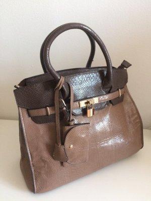 Orsay Handtasche Tasche NEU mit Schloß Kroko braun groß oversized Shopper