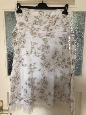 Orsay Vestido strapless blanco-color oro Algodón
