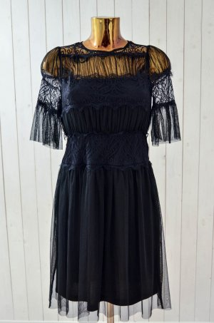ORSAY Kleid Schwarz Netztüll Betsickt Unterkleid Transparent Kurzarm Gr.34 Neu!
