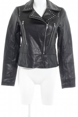Orsay Faux Leather Jacket black-silver-colored biker look