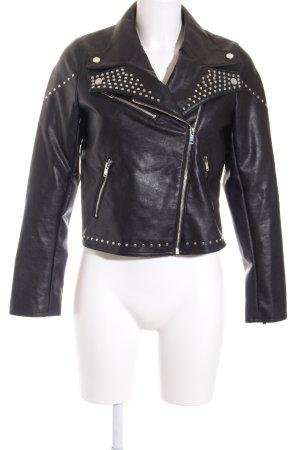Orsay Kunstlederjacke schwarz-silberfarben Biker-Look