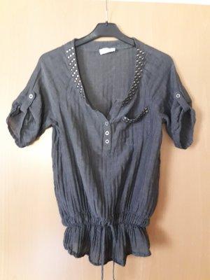 Orsay: Kurzarmshirt mit Kordel und Gummizug- Strass-Knöpfe Größe 36 grau