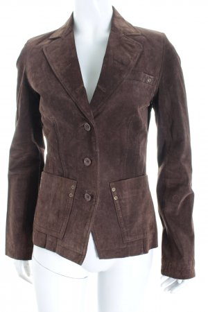 Orsay Leder-Blazer dunkelbraun Vintage-Look