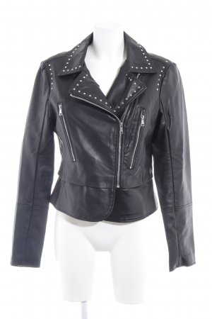 Orsay Leather Jacket black-silver-colored biker look