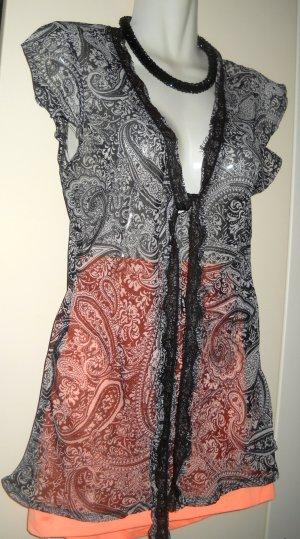 Orsay Long Bluse transparent Chiffon schwarz hell grau V Form Paisley 34 36 XS S