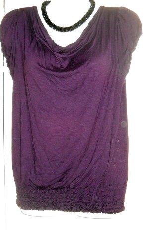 Orsay Long T Shirt Bluse Kurzarm Wasserfall gesmogt lila purpur 34 36 XS S w neu