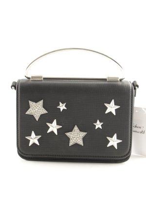 Orsay Minitasche schwarz-silberfarben Sternenmuster Casual-Look