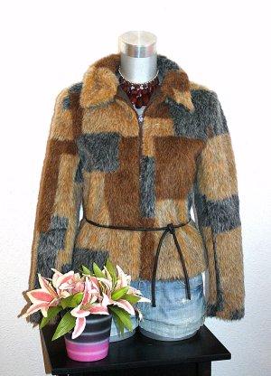 Orsay Pelz Fell Jacke gr.36/38 Braun Farbmix
