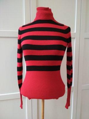 Orsay Pullover Gr. S Rollkragen-Pulli schwarz-rot Ringel-Pulli Rolli
